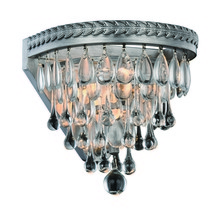 Elegant 1219W9AS/RC - 1219 Nordic Collection Wall Sconce D:9in H:9in E:8in Lt:1 Antique Silver Finish (Royal Cut Crystals)