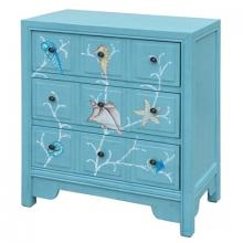 Crestview Collection CVFZR1481 - Crestview Collection Coral Reef Aqua 3 Drawer Chest
