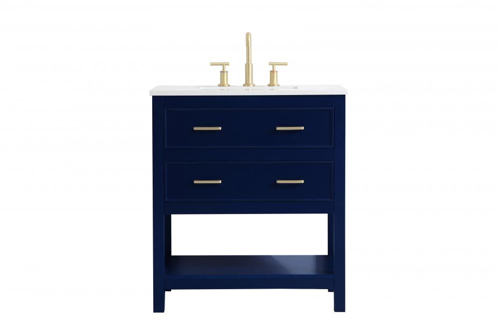 30 Inch Single Bathroom Vanity In Blue Vf19030bl Valley Light Gallery